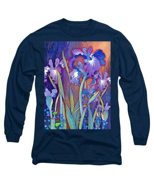 Long Sleeve T-Shirt featuring the mixed media Iris Bouquet by Teresa Ascone