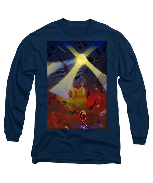 Long Sleeve T-Shirt featuring the digital art Jazz Fest II by Cathy Anderson