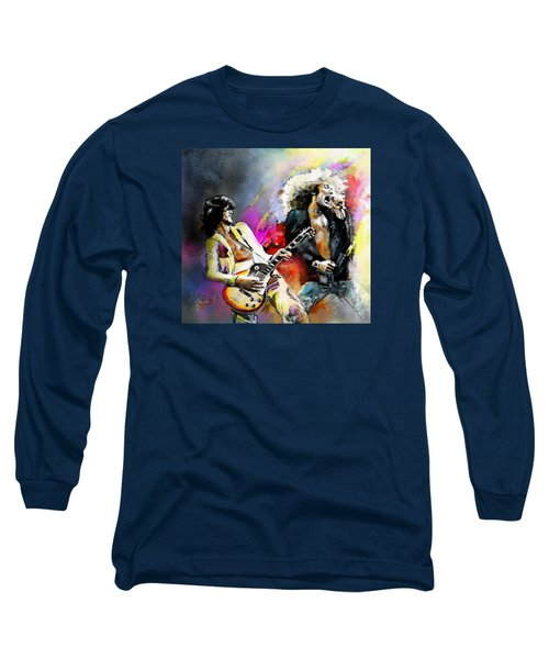 Jimmy Page And Robert Plant Led Zeppelin Long Sleeve T-Shirt by Miki De Goodaboom