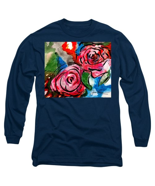 Juicy Red Roses Long Sleeve T-Shirt by Joan Reese