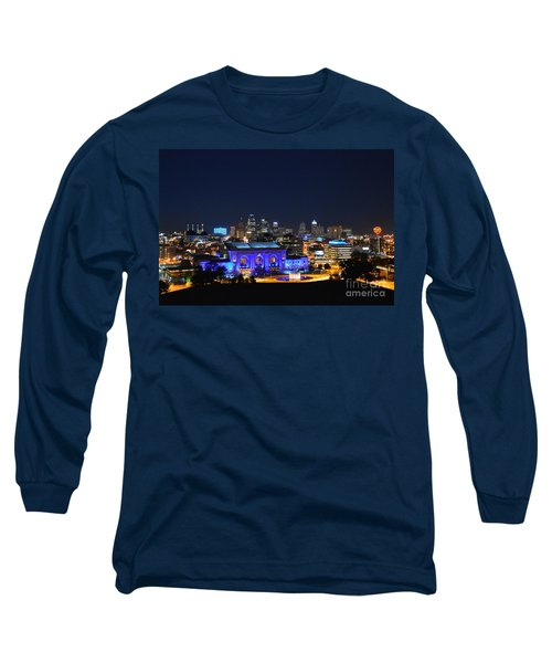 Kansas City Union Station In Blue  Long Sleeve T-Shirt by Catherine Sherman