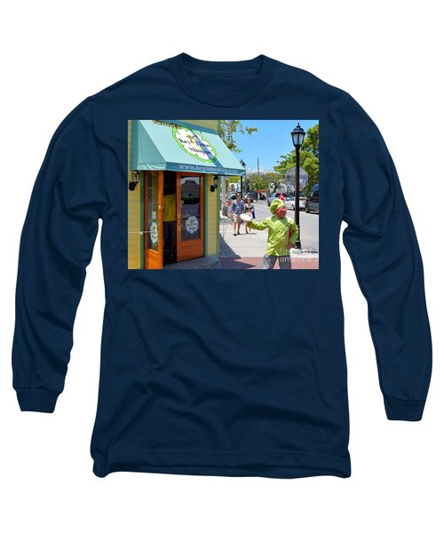 Key Lime Pie Man In Key West Long Sleeve T-Shirt by Janette Boyd