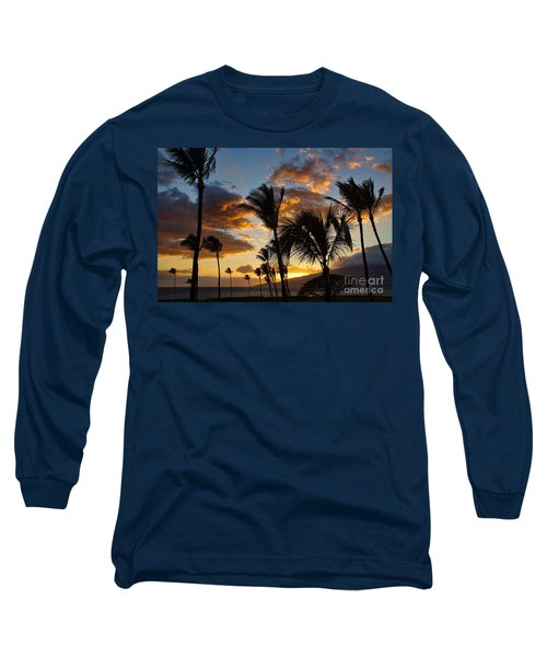 Kihei At Dusk Long Sleeve T-Shirt by Peggy Hughes