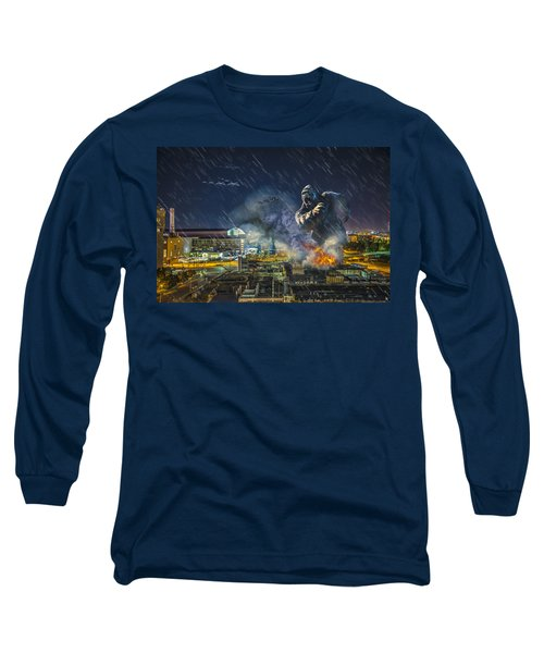 Long Sleeve T-Shirt featuring the photograph King Kong By Ford Field by Nicholas  Grunas