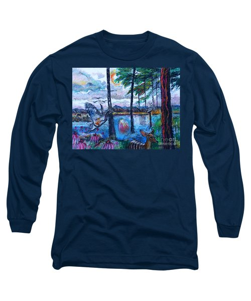 Kingfisher And Deer In Landscape Long Sleeve T-Shirt