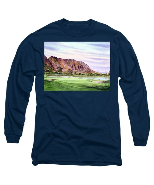 Long Sleeve T-Shirt featuring the painting Koolau Golf Course Hawaii 16th Hole by Bill Holkham