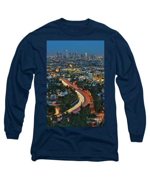 La Skyline Night Magic Hour Dusk Streaking Tail Lights Freeway Long Sleeve T-Shirt