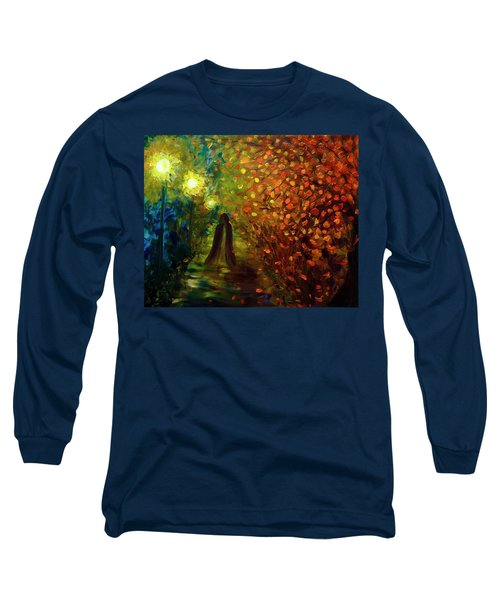 Long Sleeve T-Shirt featuring the painting Lady Autumn by Lilia D