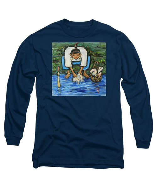Long Sleeve T-Shirt featuring the painting Laundry Girl by Xueling Zou