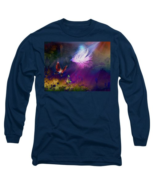 Long Sleeve T-Shirt featuring the painting Light Feather by Lilia D