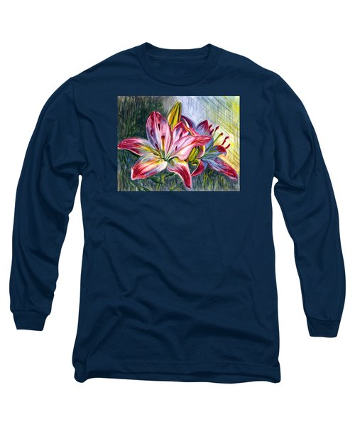 Long Sleeve T-Shirt featuring the painting Lilies Twin by Harsh Malik