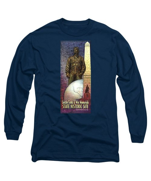 Long Sleeve T-Shirt featuring the painting Lincoln Tomb And War Memorials Street Banners Korean War Pilot by Jane Bucci
