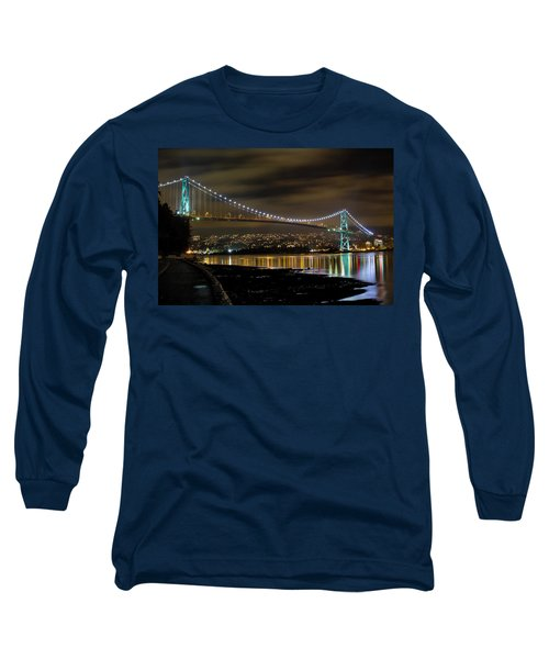 Lions Gate Bridge At Night Long Sleeve T-Shirt