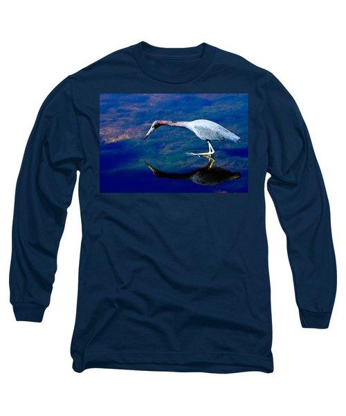 Little Blue Heron Fishing Long Sleeve T-Shirt