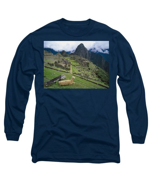 Llama At Machu Picchus Ancient Ruins Long Sleeve T-Shirt by Chris Caldicott