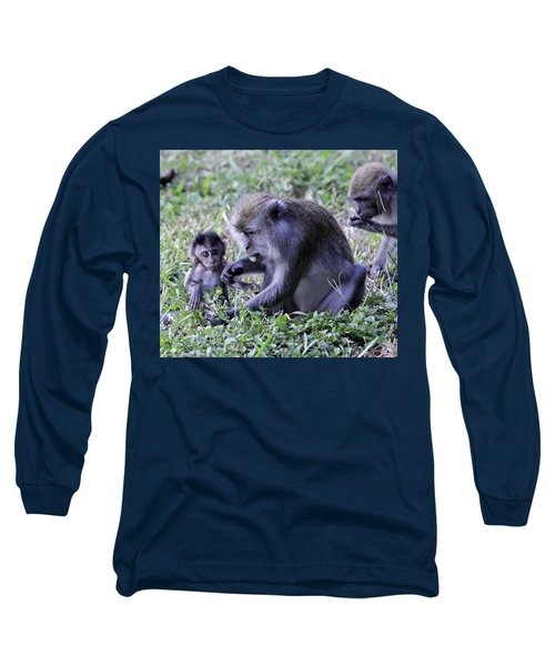 Long Sleeve T-Shirt featuring the photograph Long Tailed Macaque Family by Shoal Hollingsworth