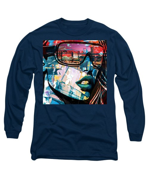 Los Angeles Skyline Long Sleeve T-Shirt by Corporate Art Task Force