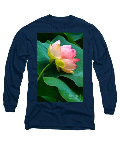 Lotus Blossom And Leaves Long Sleeve T-Shirt by Byron Varvarigos