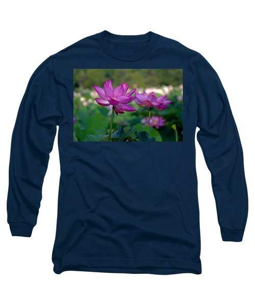 Long Sleeve T-Shirt featuring the photograph Lotus Flowers by Jerry Gammon