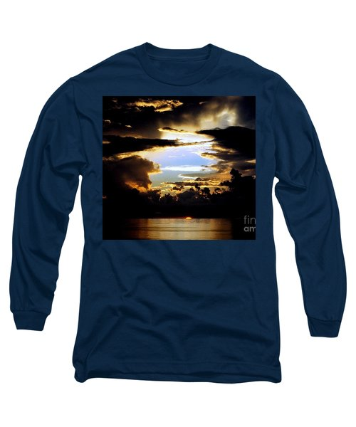 Long Sleeve T-Shirt featuring the photograph Louisiana Sunset Blue In The Gulf  Of Mexico by Michael Hoard