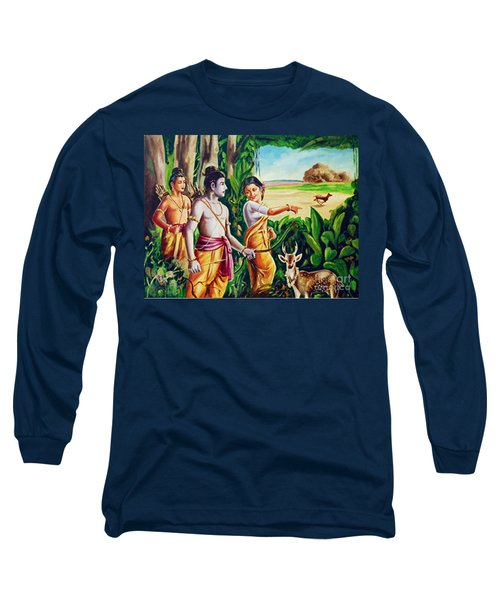 Long Sleeve T-Shirt featuring the painting Love And Valour- Ramayana- The Divine Saga by Ragunath Venkatraman