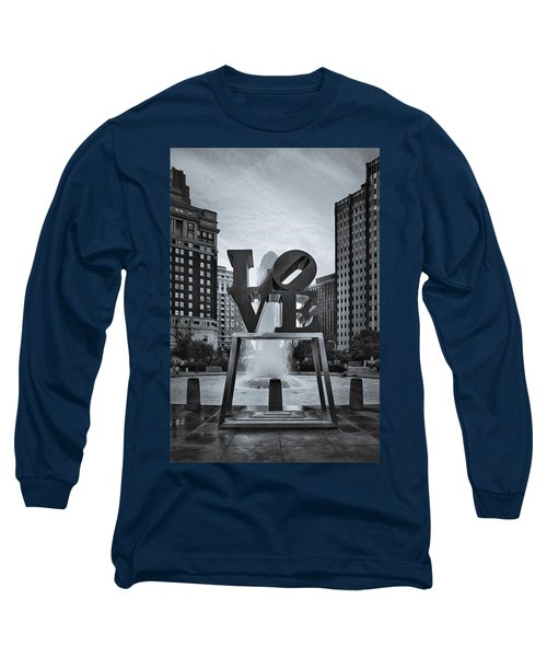 Long Sleeve T-Shirt featuring the photograph Love Park Bw by Susan Candelario
