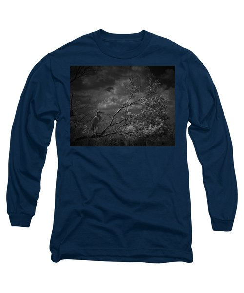 Loxahatchee Heron At Sunset Long Sleeve T-Shirt by Bradley R Youngberg