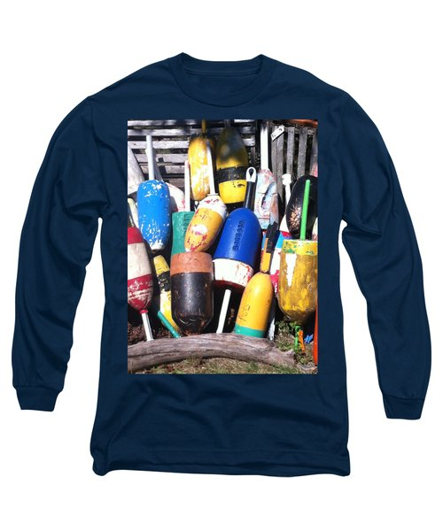Long Sleeve T-Shirt featuring the photograph Maine Lobster Buoys by Denyse Duhaime