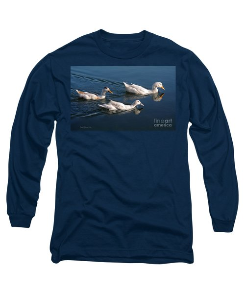 Long Sleeve T-Shirt featuring the photograph Mama Duck Leads The Way by Susan Wiedmann