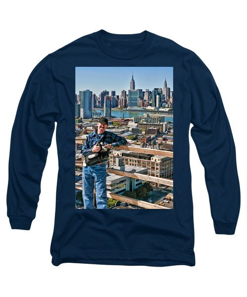 Man At Work Long Sleeve T-Shirt by Steve Sahm