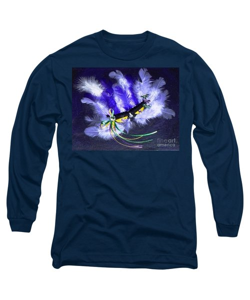 Long Sleeve T-Shirt featuring the painting Mardi Gras On Purple by Alys Caviness-Gober