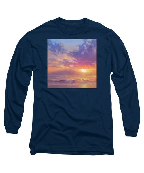 Maui To Molokai Hawaiian Sunset Beach And Ocean Impressionistic Landscape Long Sleeve T-Shirt by Karen Whitworth