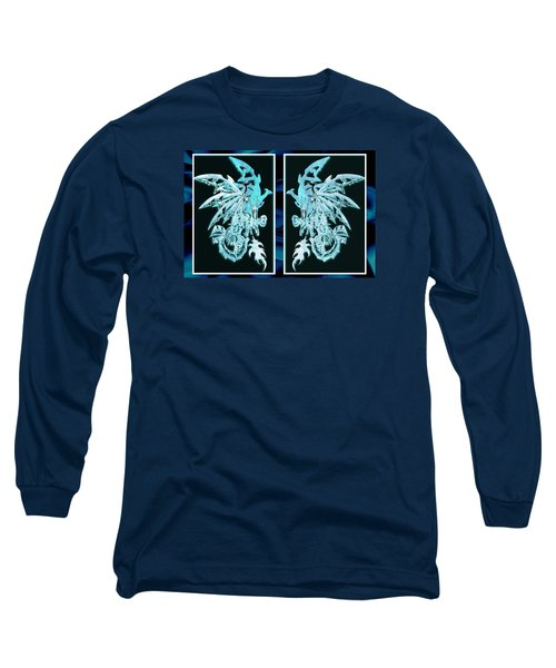 Mech Dragons Diamond Ice Crystals Long Sleeve T-Shirt by Shawn Dall