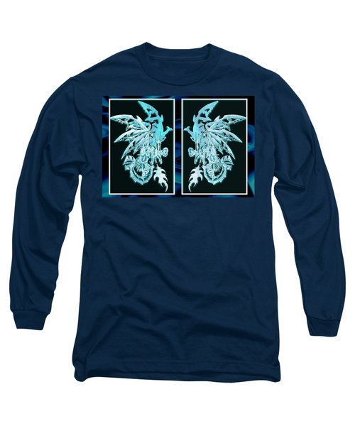 Long Sleeve T-Shirt featuring the mixed media Mech Dragons Diamond Ice Crystals by Shawn Dall