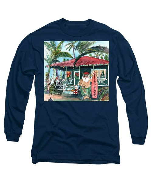 Mele Kalikimaka Hawaiian Santa Long Sleeve T-Shirt