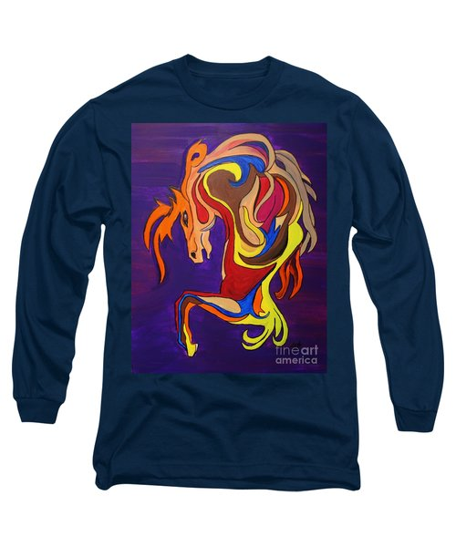 Long Sleeve T-Shirt featuring the painting Merry Go Round Carousel Horse by Janice Rae Pariza