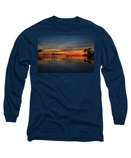 Long Sleeve T-Shirt featuring the photograph Mirrored Sunset Colors On Santa Rosa Sound by Jeff at JSJ Photography