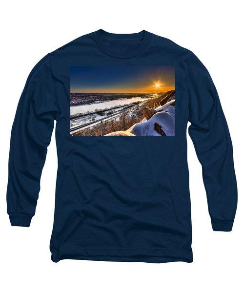 Mississippi River Sunrise Long Sleeve T-Shirt by Tom Gort