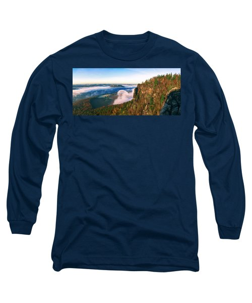 Mist Flow Around The Fortress Koenigstein Long Sleeve T-Shirt