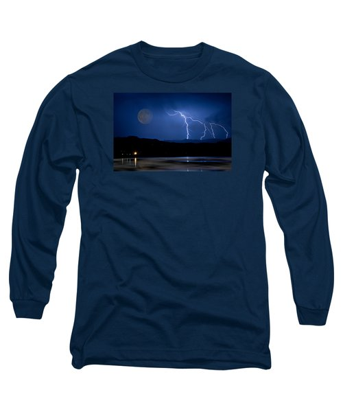 Misty Lake Full Moon Lightning Storm Fine Art Photo Long Sleeve T-Shirt