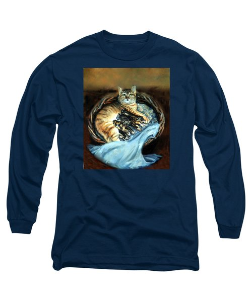 Long Sleeve T-Shirt featuring the painting Mom With Her Kittens by Donna Tucker