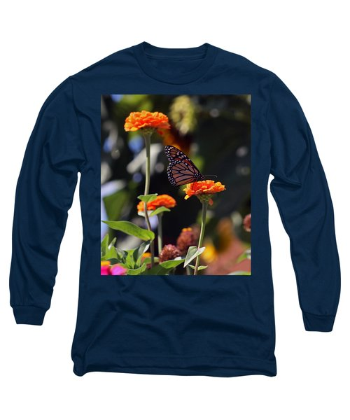 Monarch Butterfly And Orange Zinnias Long Sleeve T-Shirt by Kay Novy
