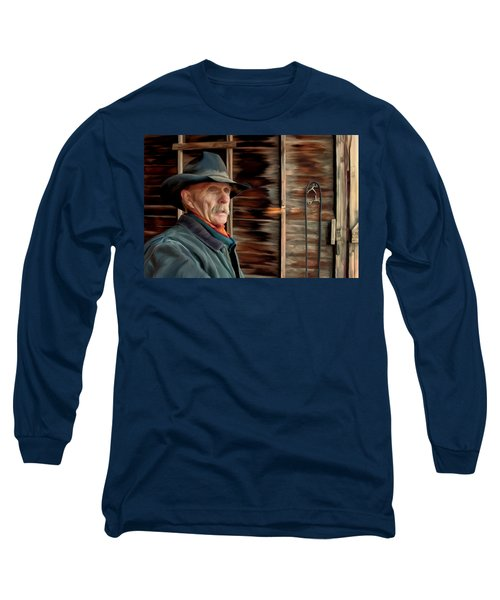 Long Sleeve T-Shirt featuring the painting Montana Cowboy by Michael Pickett