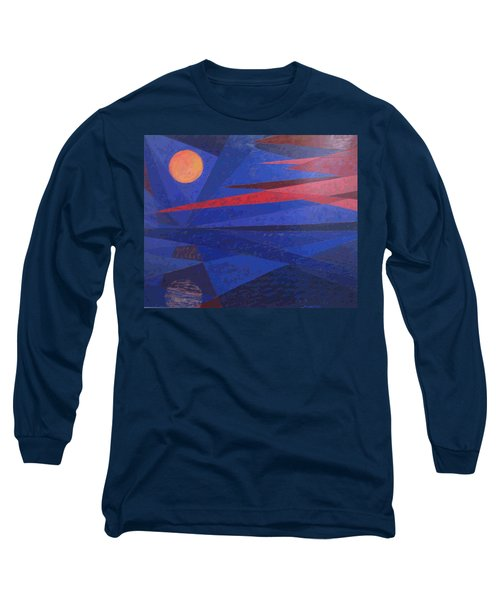 Moon Reflecting On A Lake Long Sleeve T-Shirt by Walter Casaravilla