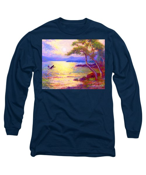 Long Sleeve T-Shirt featuring the painting  Wild Goose, Moon Song by Jane Small