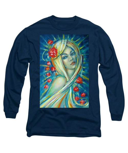 Long Sleeve T-Shirt featuring the painting Moonlight Flowers 030311 by Selena Boron
