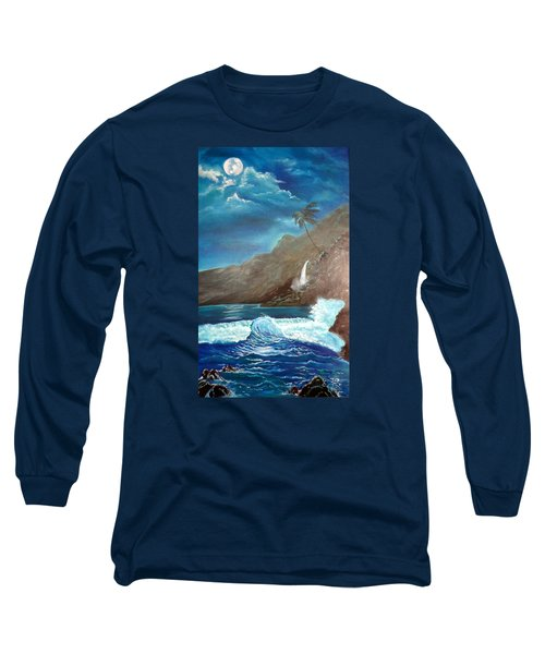 Long Sleeve T-Shirt featuring the painting Moonlit Wave by Jenny Lee