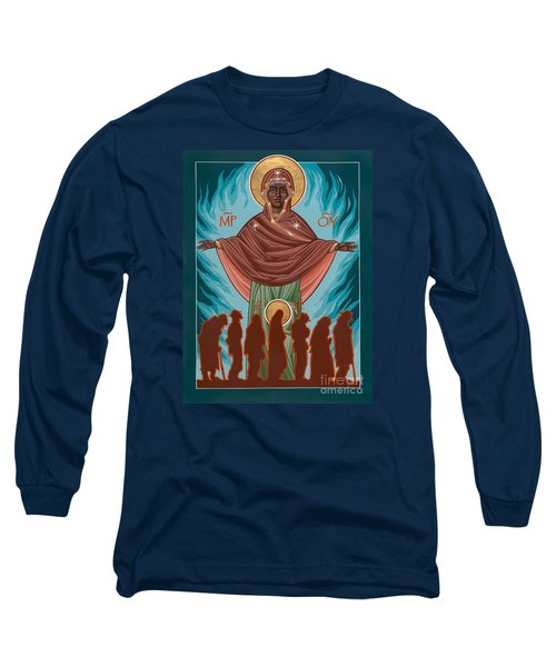 Mother Of Sacred Activism With Eichenberg's Christ Of The Breadline Long Sleeve T-Shirt by William Hart McNichols
