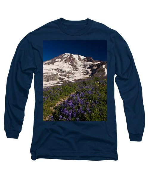 Mount Rainier Wildflower Meadows Long Sleeve T-Shirt