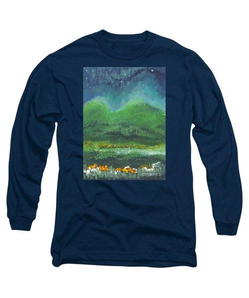 Mountains At Night Long Sleeve T-Shirt